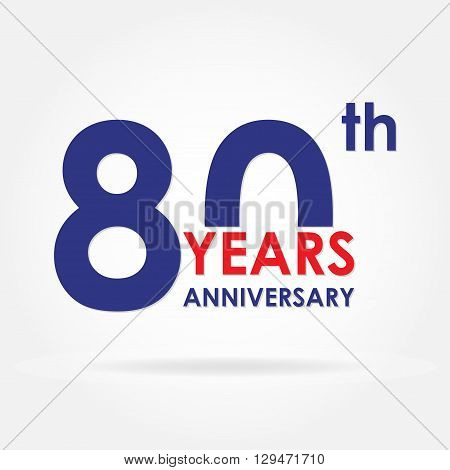 80 years anniversary sign or emblem. Template for celebration and congratulation design. Colorful vector 80th anniversary label.