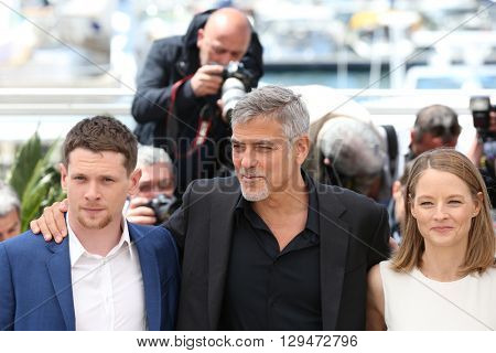 CANNES, FRANCE - MAY 12: Jack O'Connell, George Clooney, Jodie Foster and Julia Roberts,  'Money Monster' Photocall,69th Cannes Film Festival at Palais des Festivals on May 12, 2016 in Cannes, France.