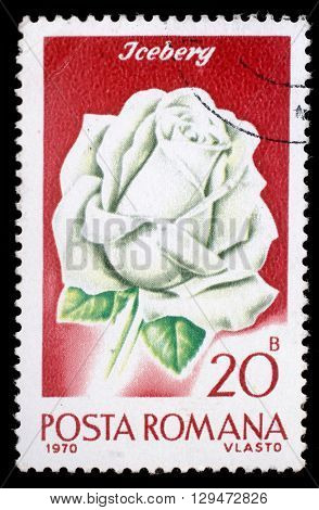 ZAGREB, CROATIA - JULY19: A stamp printed in Romania shows image of an iceberg rosa (rosa iceberg), circa 1970, on July19, 2012, Zagreb, Croatia