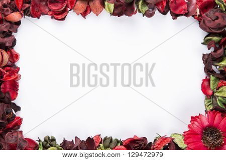Red Potpourri framed as border with copy space