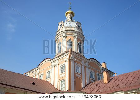 The dome of the sacristy of the Alexander Nevsky Lavra on the background of blue sky. Saint Petersburg, Russia