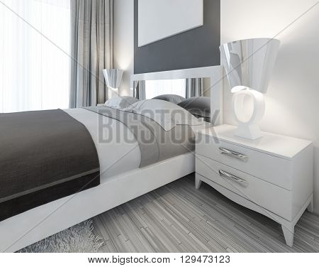Modern white nightstand with a lamp by the bed in a bedroom Contemporary style. 3D render.