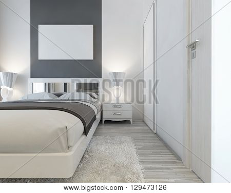 Modern bed with mirrored headboard and bedside tables with lamps. Near the bed a large sliding wardrobe and a white shaggy carpet. Above the bed mockup poster. 3D render.
