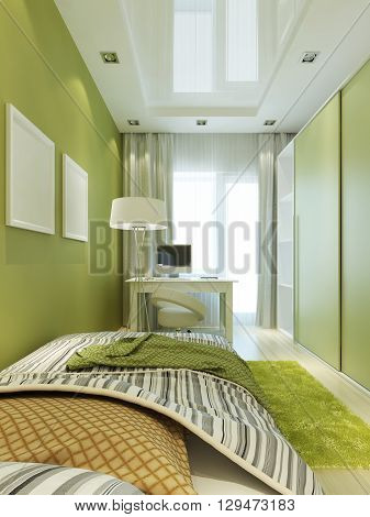 Children's room for the boy in light green and white colors with mockup poster on the wall. 3D render.