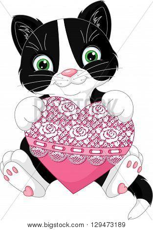 Cute kitten holds a heart, EPS 8