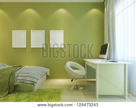 Room for a teenager in a modern style with mockup posters on the wall. The room is made in light green colors with white furniture. 3D render.