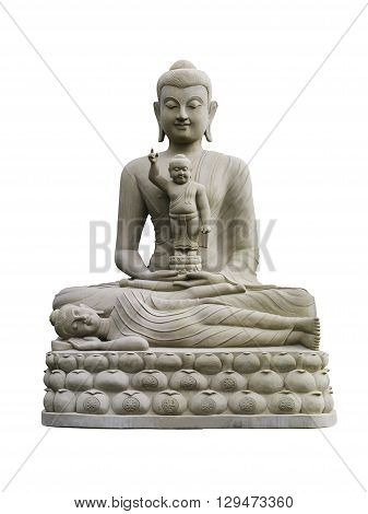 three sandstone Buddha meditating sleeping sitting on the lap. sandstone Buddha meditating sleeping sitting on the lap.
