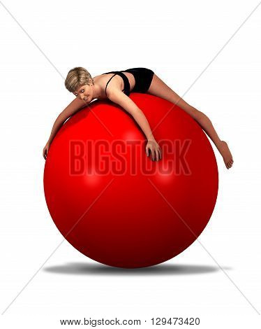 3d illustration of a woman in underwear lying on a giant red ball.