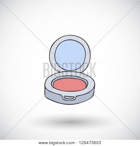 Blush. Hand-drawn doodle cosmetics with round shadow. Vector illustration.