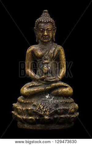 Small buddha image used as amulets on black background