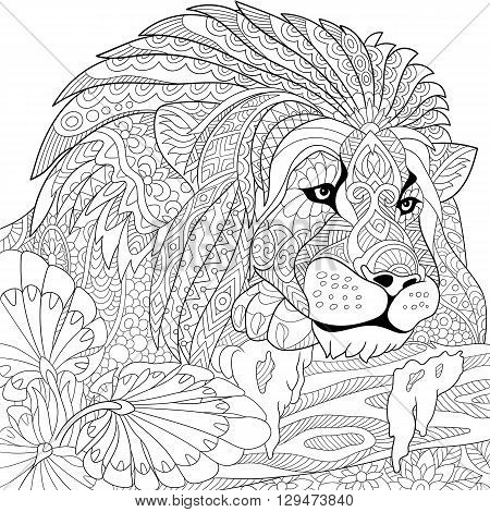 Zentangle stylized cartoon lion (wild cat leo zodiac). Hand drawn sketch for adult antistress coloring page T-shirt emblem logo or tattoo with doodle zentangle floral design elements.