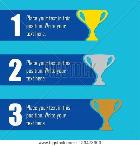 Trophy Cups infographics template. First place award. Sport design elements with space for text. Vector illustration.