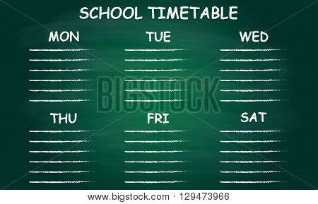 School timetable or schedule isolated on blackboard. Vector illustration of green classroom chalkboard.