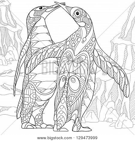 Zentangle stylized two cartoon emperor penguins kissing and hugging. Hand drawn sketch for adult antistress coloring page T-shirt emblem logo tattoo with doodle zentangle floral design elements.