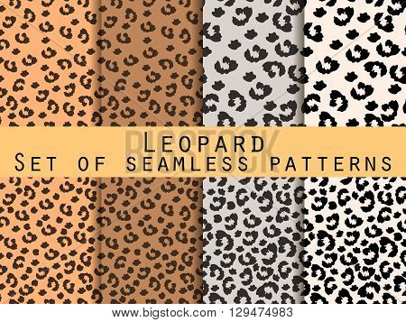 Leopard Skin Seamless Pattern. Set Leopard Print. Vector.