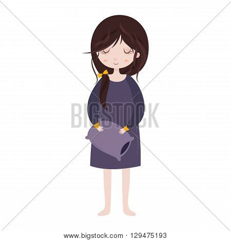 Sleepy girl in pajamas. Cute cartoon girl with pillow. Vector illustration.