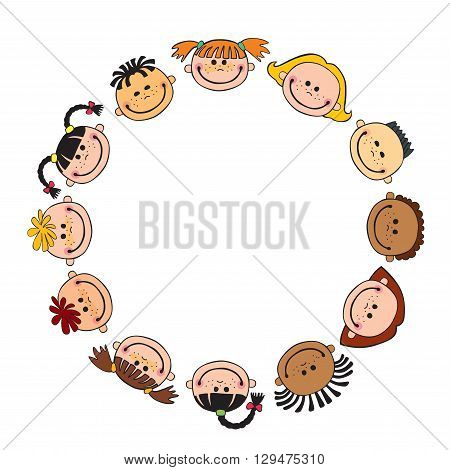 The world children in a circle white background single  child vector cute friendship, fun, happiness, circle, illustration, childhood,