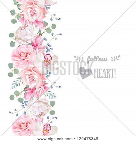 Vertical seamless line garland with camellia rose peony eucaliptus leaves and orchid. Cute wedding floral vector design frame. Banner stripe element.