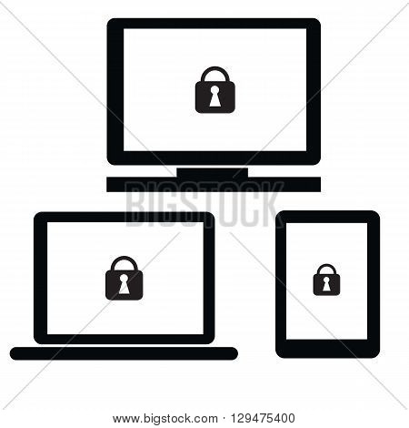 Security with lock symbol on notebookPCtablet and smartphone