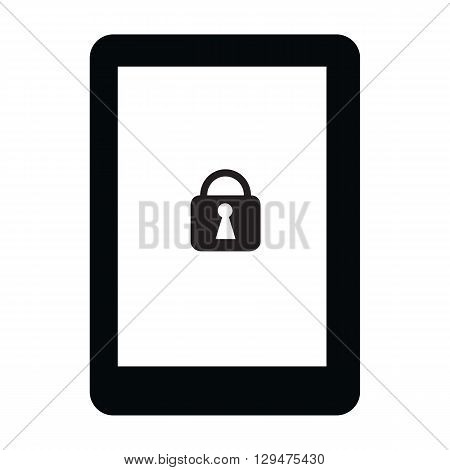 Smartphone or tablet device with lock symbol for the security technology single icon isolated on white background