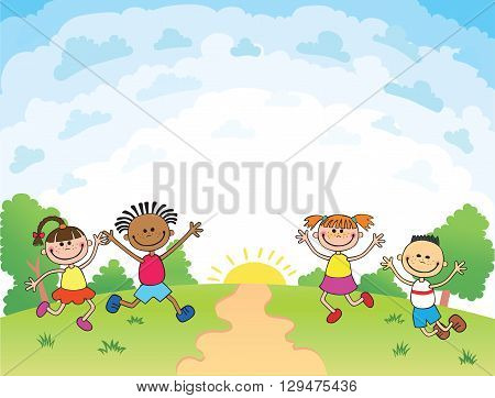 children are jumping on the glade, bunner cartoon funny vector, Template for advertising brochure. Ready for your message. blank template  character. illustration