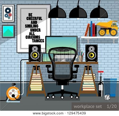 Vector illustration of a workplace of the programmer in a flat style