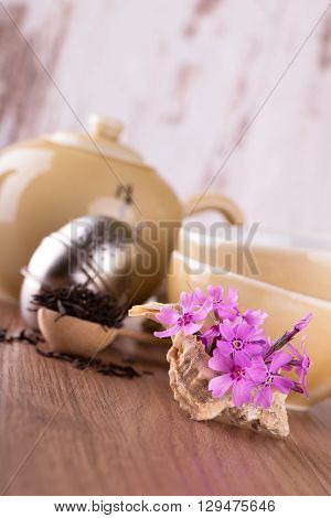 Few Pink Carnations In Seashell In Front Of Tea Set