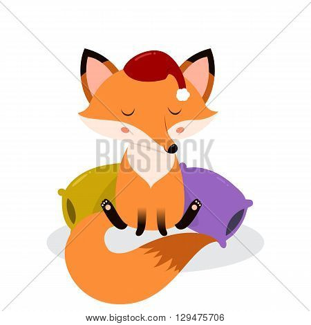 Cute cartoon sleepy fox on the pillows. Vector illustration isolated on white background.