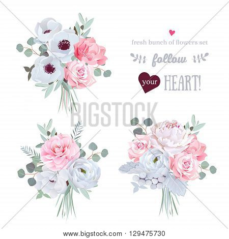 Surprise bouquets of rose peony anemone camellia brunia flowers and eucalyptus leaves. Vector design set. All elements are isolated and editable.