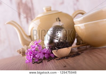Wooden Spoon With Dry Tea And Tea Set