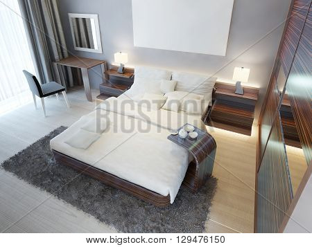 Comfortable bedroom in Contemporary style with brown furniture Zebrano. Dressing table king size bed and large sliding wardrobe with mirrors. 3D render.
