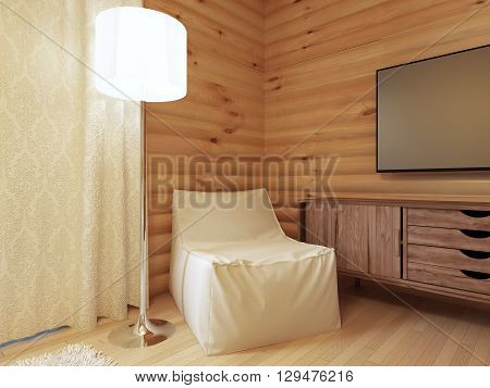 Wood TV console with a comfortable white armchair and a floor lamp. Wooden chest of drawers media. 3D render.
