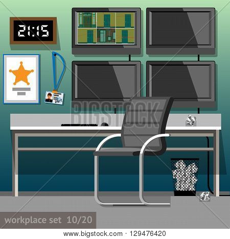 Vector illustration of security guard workplace in flat style