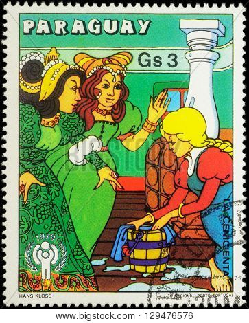 MOSCOW RUSSIA - MAY 11 2016: A stamp printed in Paraguay shows scene from a fairy tale