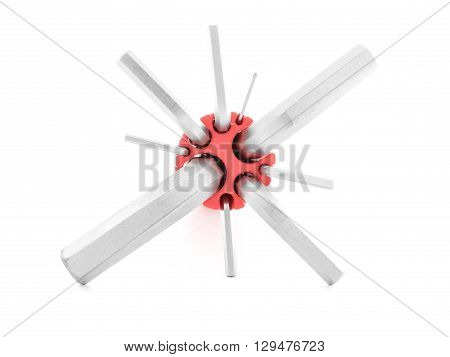 Hex key chrome tool for repair isolated on white background