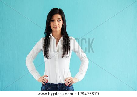Business Woman Standing With Hands On Hips