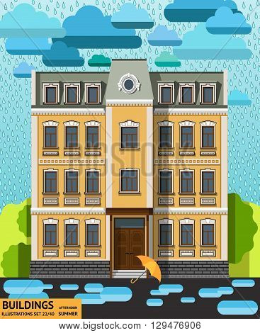 The building in the rain with the umbrella and the puddles in the foreground in a flat style