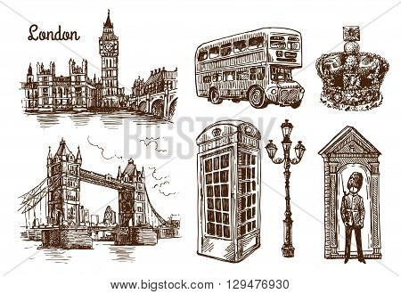 Beautiful hand drawn vector sketch illustration London. Sketch style. London sketch.