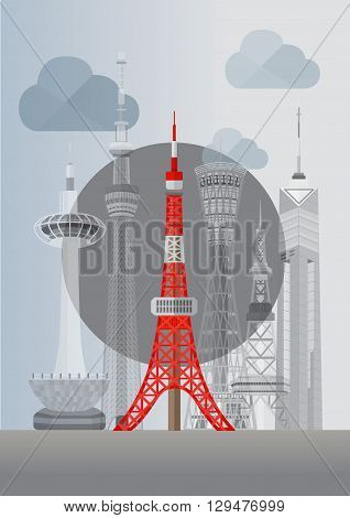 Travel Japan famous tower series vector illustration - Tokyo Skytree