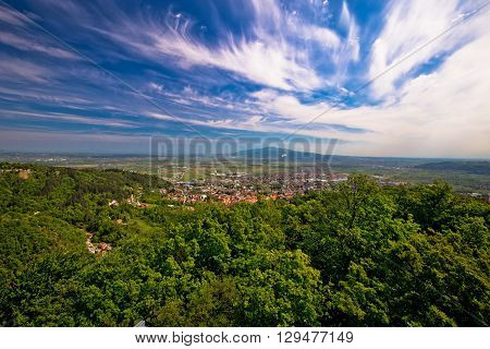 Town of Samobor aerial view northern Croatia