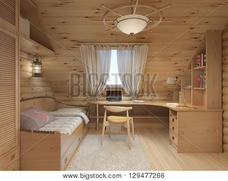 Log interior room for a teenager from the timber in a marine style and decor. Shelving for books with a work desk and a bed of wood. 3D render.