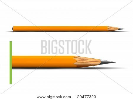 Wooden sharp pencil isolated on white background vector illustration