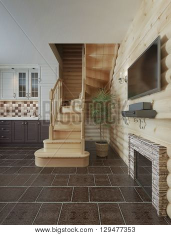 The flight of stairs in the kitchen dining room log cabin interior. Wooden stairs to the second floor in a wooden house. 3D render.