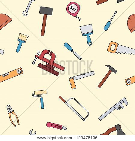 Seamless pattern of repair tool icons. Home repair signs. Worker tools. Isolated on white background. Vector illustration.
