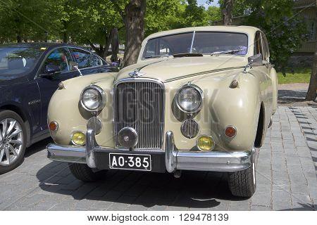 TURKU, FINLAND - JUNE 06, 2015: Jaguar Mark IX, front view closeup. A meeting of holders of cars