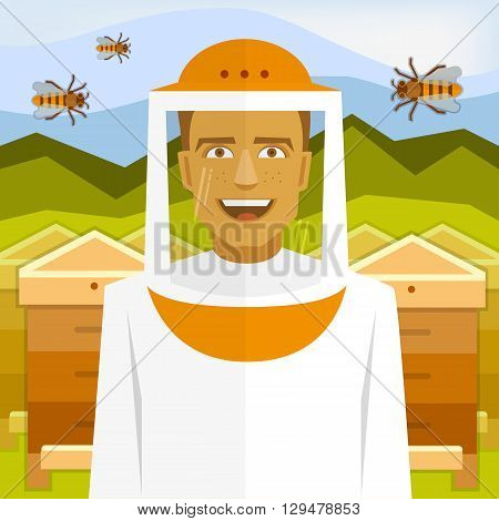 Male smiling beekeeper on apiary with bees and beehives.