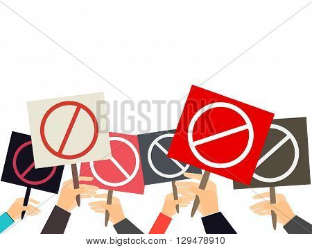 Hands Holding Protest Signs. Crowd Of Protesters. Political Crisis Poster. Hand Holding A Poster. Ve