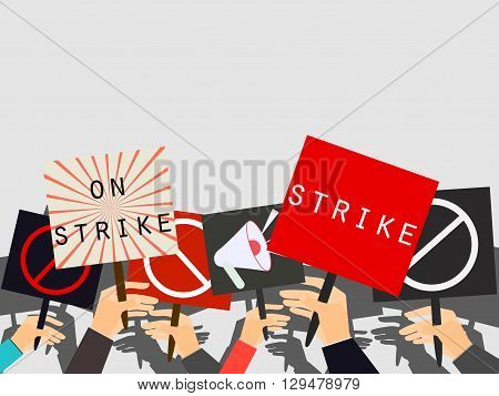 Hands holding protest signs. Crowd of protesters. Political crisis poster. Hand holding a poster. Vector illustration.