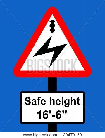 Warning triangle Overhead electric cable plate indicates maximum height of vehicles which can pass safely