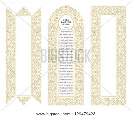 Eastern gold frames, arch. Template design elements in oriental style. Floral Frame for cards and postcards Eid al-Adha. Muslim invitations and decor for brochure, flyer, poster. Vector border